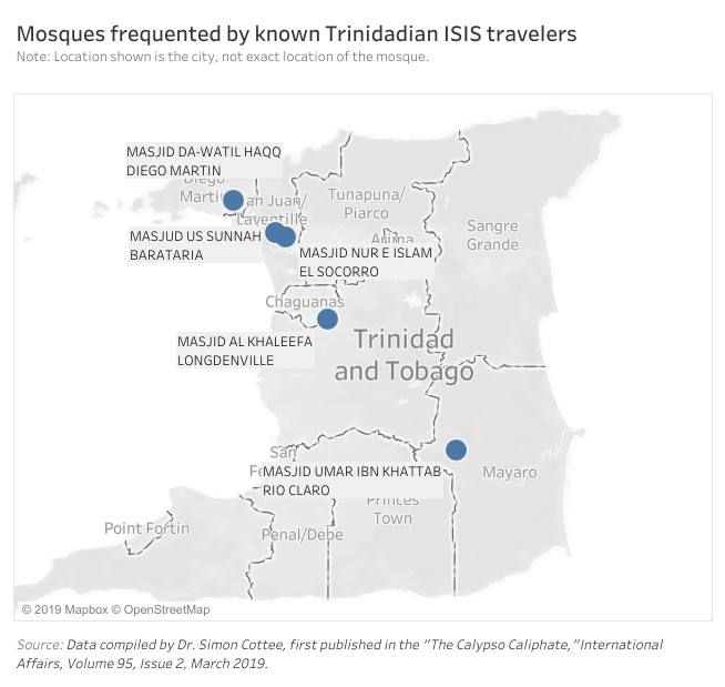 Map of mosques frequented by known Trinidadian ISIS travellers